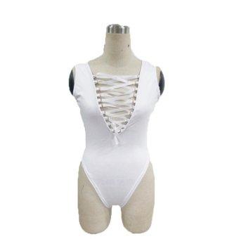 Audew ZANZEA Sexy Women Plunge Suede Lace-up Tie Front Bodysuit Bikinis NEW - intl
