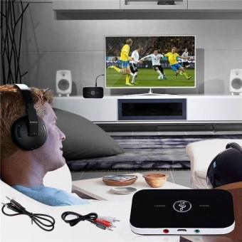 AUkEy Store 2 In 1 Bluetooth Transmitter Receiver A2DP untuk TV Stereo Audio Adaptor Konektor-Internasional