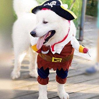 Bajak laut Karibia anjing peliharaan kucing lucu pakaian kostumbaju setelan pakaian dengan Hat i