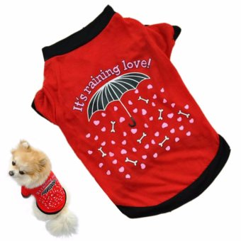 Baju kaos kostum Anjing Kucing its raining love Size L - Merah