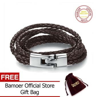 BAMOER Official Store Fashion Leather Bracelet Wide Retro Black & Brown Color Chain Bracelets for Men & Women Jewelry pulseras PI0288 - intl