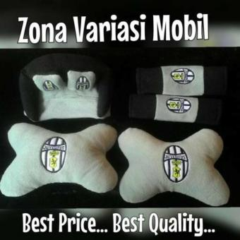 Bantal Kepala Mobil Set 3 in 1 / Headrest Car Set 3in1 Juventus