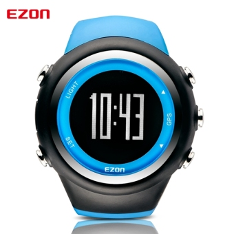Best Selling EZON GPS Timing Fitness Watches Sport Outdoor Waterproof Digital Watch Speed Distance Calorie Counter (Blue)