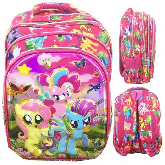 BGC 6 Dimensi Bantalan Punggung My Little Pony 4 Kantung Timbul IMPORT Tas Ransel Anak Sekolah