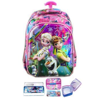 BGC 6 Dimensi Frozen Fever Tas Troley Anak Sekolah SD IMPORT + Lunch Bag ALuminium Tahan