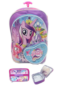 BGC My Little Pony Love Bahan Saten Berkualitas Tas Troley Anak Sekolah SD + Lunch Bag Aluminium Tahan Panas- Purple Love