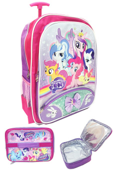 BGC My Little Pony Pinkie Best Friends Pita 2 Tas Troley Anak Sekolah SD + Lunch Bag Aluminium Tahan Panas
