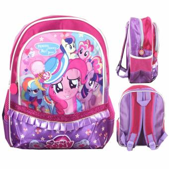 BGC My Little Pony Pinkie Pie Full Sateen Gilter Renda Tas Ransel Anak Sekolah TK - Purple Pink