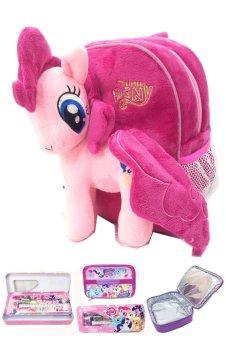 BGC My Little Pony Pinkie Pie Tas Ransel Anak Sekolah TK Boneka Timbul Import + Lunch Bag Aluminium Tahan Panas + Kotak Pensil + Alat Tulis - Pink