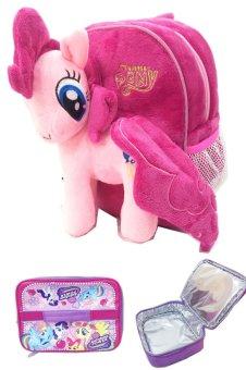 BGC My Little Pony Pinkie Pie Tas Ransel Anak Sekolah TK Boneka Timbul Import + Lunch Bag Aluminium Tahan Panas - Pink