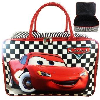 BGC Travel Bag Kanvas Cars McQueen On The Road - Black White Chess