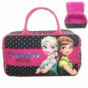 BGC Travel Bag Kanvas Frozen Fever Black Polkadot - Black Pink