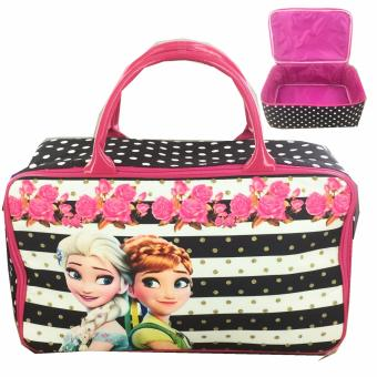 BGC Travel Bag Kanvas Frozen Fever Strip2 - Black White