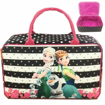 BGC Travel Bag Kanvas Frozen Fever Stripes - Black White