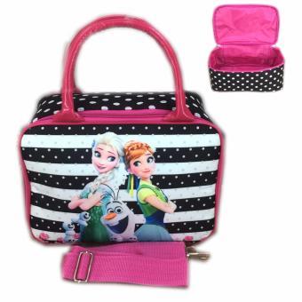 BGC Travel Bag Kanvas Mini + Selempang Frozen Fever Black Strip