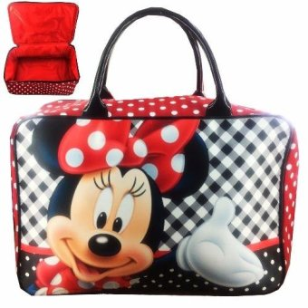 BGC Travel Bag Kanvas Minnie Mouse Kotak Kotak - Black White