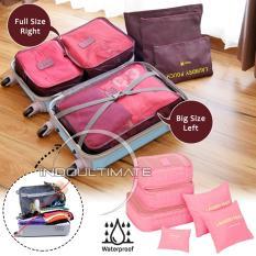 BIG SIZE WATERPROOF Travel Bag 6in1 Organizer  60-01/Organizer Space Koper 1 Set - Baby pink