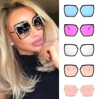 (Black Ice Blue) Fashion Cat Eye Pink Kacamata Hitam Wanita Pria Shades  Cermin Persegi 1c3977537a