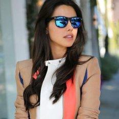 Blue lans Retro Aviator Sunglasses Square Lens - Kacamata Wanita  -  Hitam - RAS 7064 RAINBOW MIRROR