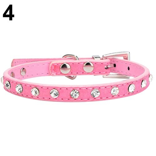 Bluelans(R) Adjustable Cat Pet Dog Studded Rhinestones Buckle Collar Faux Leather Neck Strap XXS (Pink) - intl