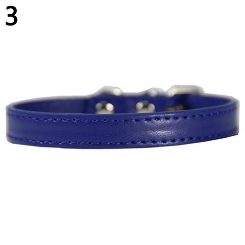 Bluelans(R) Fashion Adjustable Faux Leather Solid Color Dog Cat Puppy Neck Strap Pet Collar M (Dark Blue) - intl