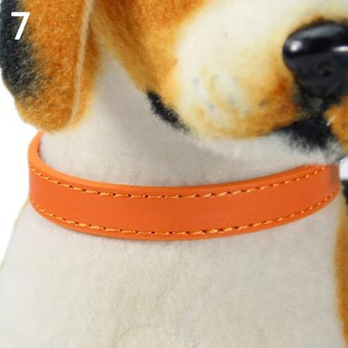 Bluelans(R) Fashion Adjustable Faux Leather Solid Color Dog Cat Puppy Neck Strap Pet Collar M (Orange) - intl