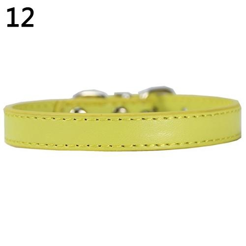 Bluelans(R) Fashion Adjustable Faux Leather Solid Color Dog Cat Puppy Neck Strap Pet Collar M (Yellow) - intl