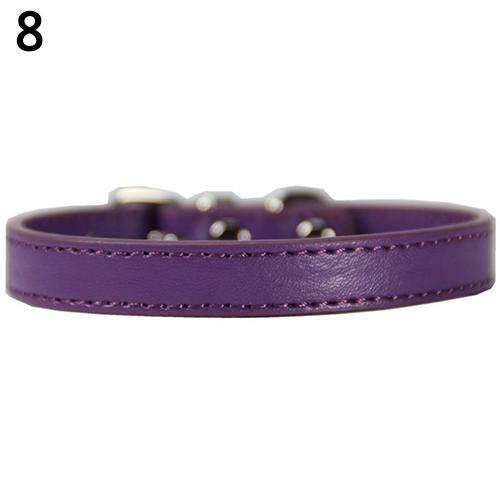 Bluelans(R) Fashion Adjustable Faux Leather Solid Color Dog Cat Puppy Neck Strap Pet Collar S (Purple) - intl