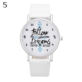 Bluelans Girls Casual Follow Your Dream Quote Print Faux Leather Strap Quartz Wrist Watch (White