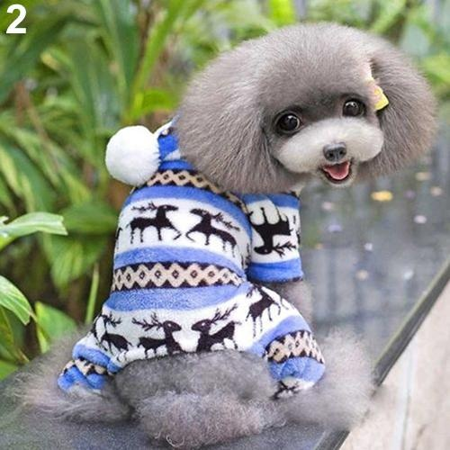Bluelans(R) Pet Dog Puppy Cute Elk Warm Winter Soft Sweater Hoodie Jumpsuit Coat Clothes Outwear L (Blue) - intl