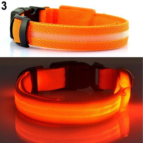 Bluelans(R) Puppy Dog Cat Night Safety Flashing Luminous LED Light Adjustable Pet Collar S (Orange) - intl