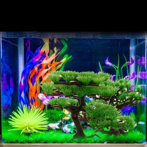BolehDeals akuarium buatan pabrik plastik pohon pinus tangki ikandekorasi-lingkaran dasar - Internasional