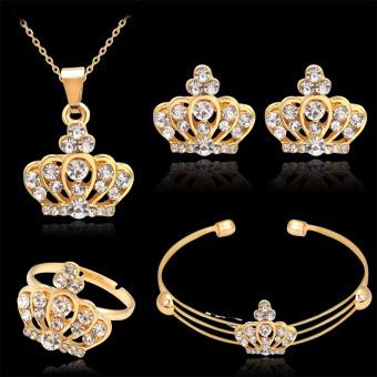 BolehDeals Perempuan Partai Pernikahan Crown Kalung Gelang Cincin Anting- Anting Berlian Imitasi Yang Ditetapkan Emas