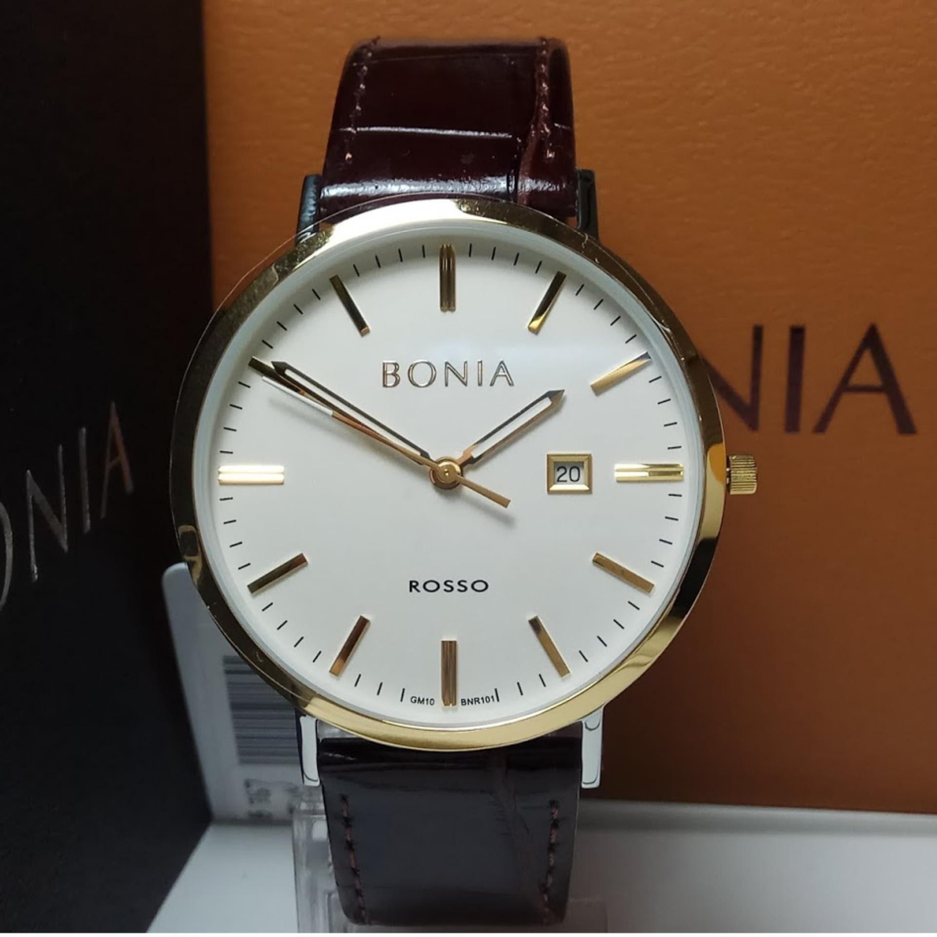 Bonia Rosso B10101 Jam Tangan Pria Silver Kombinasi Gold Ring B10060 1153 Bnr101 1212 Stainless Steel Leather