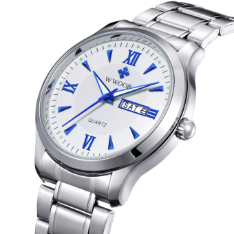 Brand WWOOR Men's Watch Auto Date Stainless Steel Luminous Dress Men Casual Watch (White) - intl