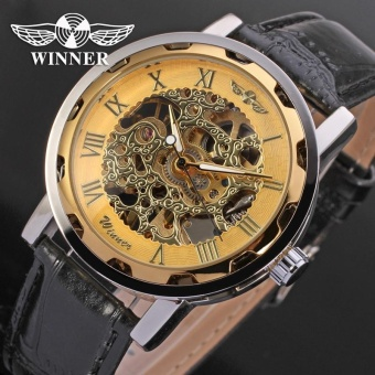 Brave Navigate Fashion WINNER Men Luxury Brand Roman Number Hand-wind Leather Watch Automatic Mechanical