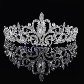 Bridal Princess Austrian Kristal Yang Menakjubkan Rambut Tiara Pernikahan Mahkota Kerudung Headband Perak-Intl