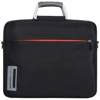 BRINCH 13 14.1 39.62 cm bahan nilon campuran aluminium laptop tas untuk pria dan wanita salah satu bahu Laptop bag, 33.02 cm + (Hitam) - 4
