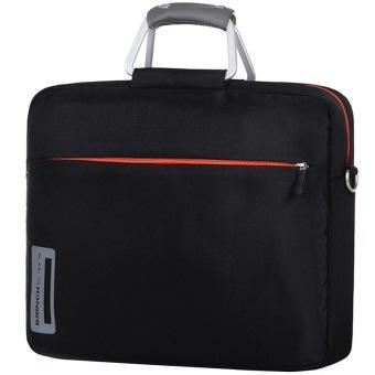 BRINCH 13 14.1 39.62 cm bahan nilon campuran aluminium laptop tas untuk pria dan wanita salah satu bahu Laptop bag, 33.02 cm + (Hitam) - 5