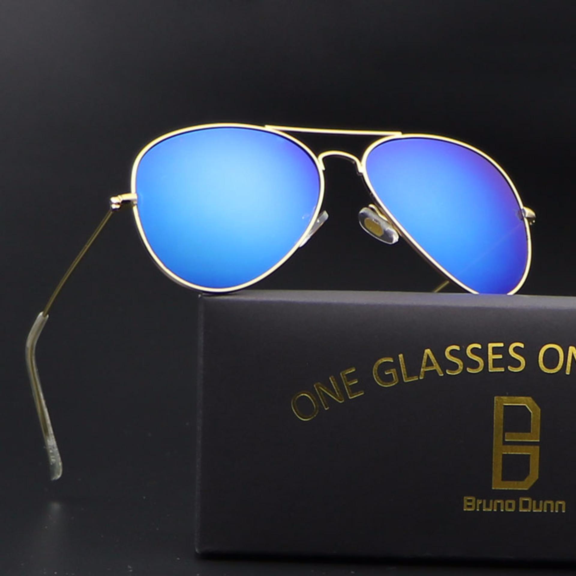bruno dunn women men polarized aviator 3025 sunglasses (gold frame blue lense .