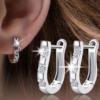 BUYINCOINS Fashion wanita berlapis perak anting kristal batu permata giwang perhiasan - Internasional