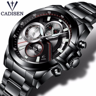 CADISEN Merek Jam Tangan Pria Fashion Kasual QUARTZ Watch Man Tahan Air Olahraga Militer Stainless Steel Jam Tangan-Internasional