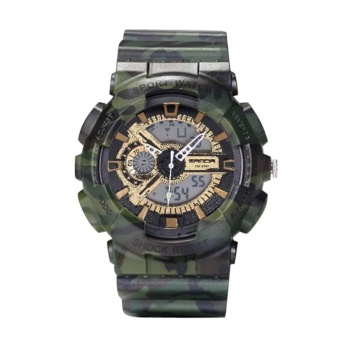 Camouflage Multi Function Double Show Waterproof Shake Proof Sports Watch(Green)-one size - intl
