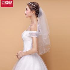Cantik Model Korea Menikah Mutiara Gaun Pengantin Kerudung Mempelai Wanita Kerudung