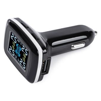 Sistem pemantauan tekanan ban mobil tampilan LCD nirkabel dengan empat sensor eksternal (Hitam)