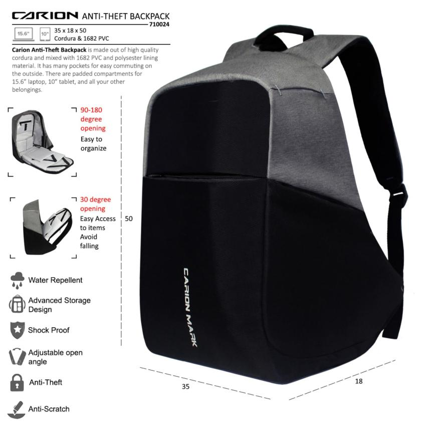 Carion Tas Ransel Anti-Theft / Laptop / Backpack Pria Wanita Daypack - 710024