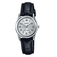 Casio Analog LTP-V001L-7B - Jam Tangan Wanita - Black & Silver - Leather Band