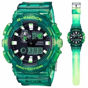 Casio G-SHOCK GAX-100MSA-3ADR - G-Lide - Tide Graph - Multifunction - Jam Tangan Pria - Bahan Tali Resin - Hijau Transparan