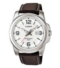 Casio Standard MTP-1314L-7A - Jam Tangan Pria - Brown White - Strap Leather
