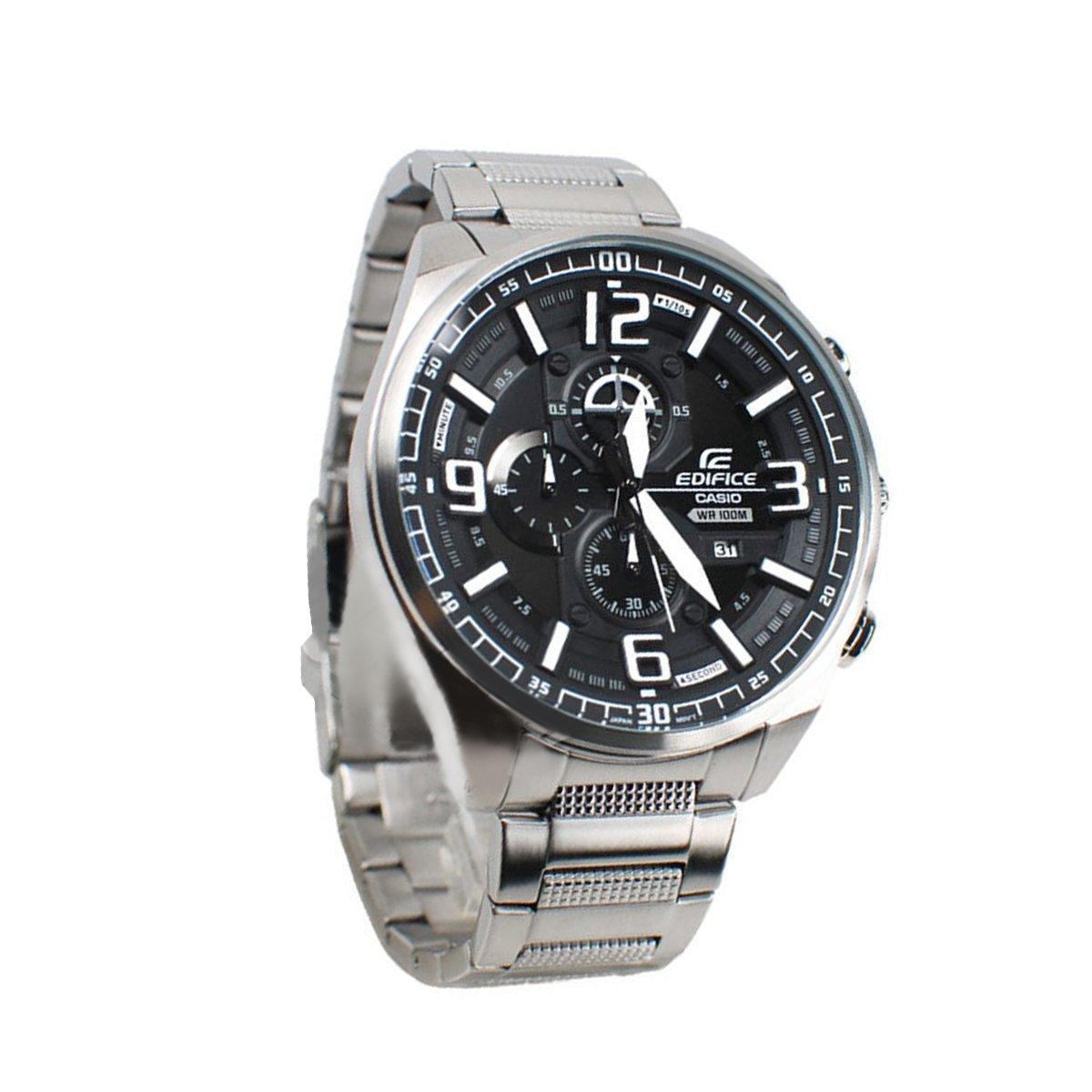 ... Casio Watch Edifice Chronograph Silver Stainless-Steel Case Stainless-Steel Bracelet Mens NWT + ...
